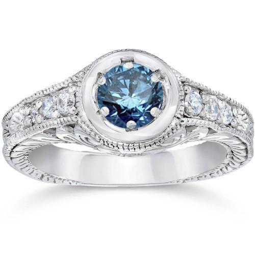 5/8ct Art Deco Treated Blue Diamond Vintage Engagement Ring 14K White Gold (G/H, I1)