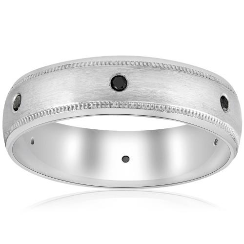 Black Diamond Mens Wedding Ring 10k White Gold (Black, SI1-SI2)