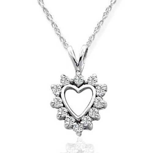 1/3ct Diamond Heart Pendant 14K White Gold (G/H, VS)