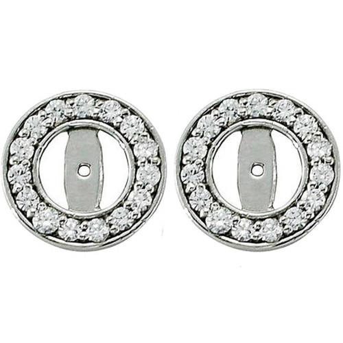 1/2ct Halo Round Diamond Studs Earring Jackets 14K White Gold (3.5-4mm) (G-H, I1)