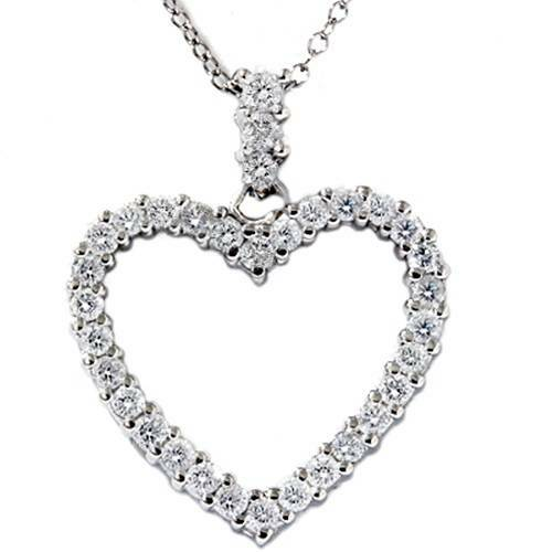 3/4ct Real Diamond Heart Shape Pendant 14K White Gold (G/H, I1)