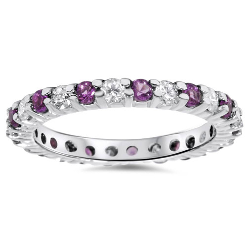 1 1/2ct Diamond & Amethyst Eternity Stackable Ring 14K White Gold (G/H, I1-I2)