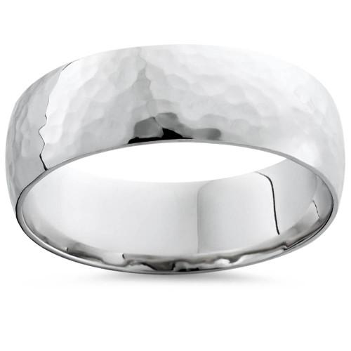 Mens 7mm 14K White Gold Polished Hammered Wedding Ring Band