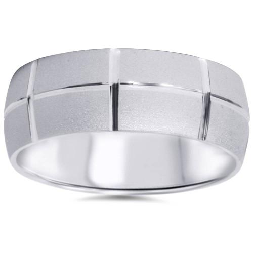 14k White Gold Wedding Band Mens Brushed 8mm Wide Ring