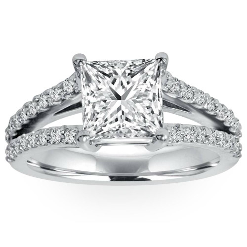 1 1/3Ct Princess Cut Split Shank Enhanced Diamond Engagement Ring 14K White Gold ((G-H), SI(1)-SI(2))