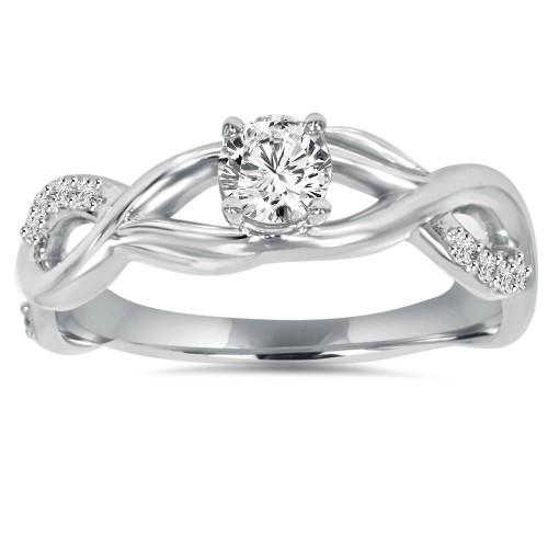 1/2CT Vintage Infinity Diamond Engagement Ring 14K White Gold (H/I, I1-I2)