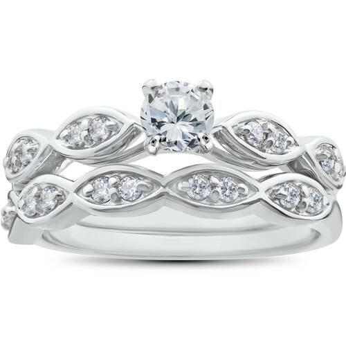 3/4ct Vintage Diamond Engagement Ring Matching Wedding Band Set Antique SZ7 ((G-H), SI(1)-SI(2))
