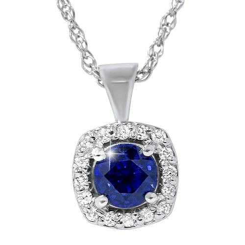 3/4ct Blue Sapphire & Diamond Halo Pendant 14K White Gold (G, SI)