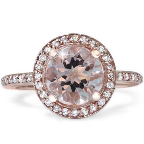 2ct Morganite & Diamond Halo Vintage Antique Engagement Ring 14K Rose Gold (G/H, I1)