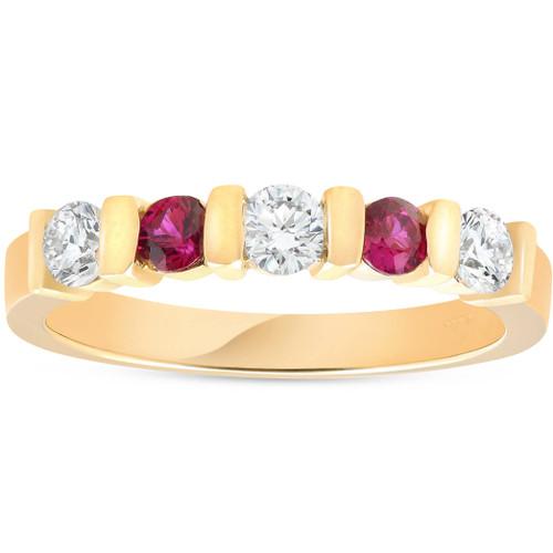 1/2ct Ruby & Diamond Wedding Anniversary 14K Yellow Gold Ring (G/H, I1)