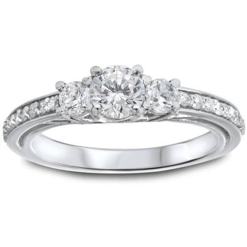 1 1/4ct 3-Stone Diamond Ring 14K White Gold (I/J, I2-I3)