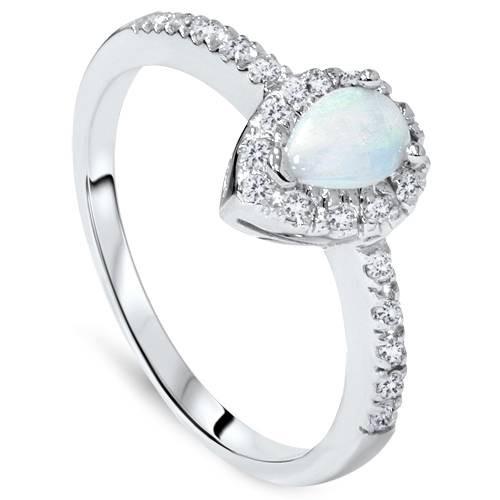 1/2ct Pear Shape Opal & Diamond Halo Ring 14K White Gold (G/H, I1-I2)