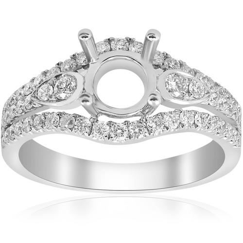 5/8ct Pave Halo Engagement Ring Setting 18K White Gold Semi Mount (F, VVS)