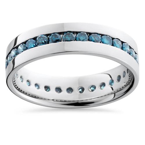 1 1/5ct Blue Diamond Channel Set Eternity Ring 14K White Gold Comfort Fit (Blue, I1)