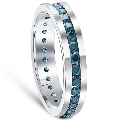 1 1/5ct Blue Diamond Channel Set Eternity Ring 14K White Gold Comfort Fit (Blue, I1)