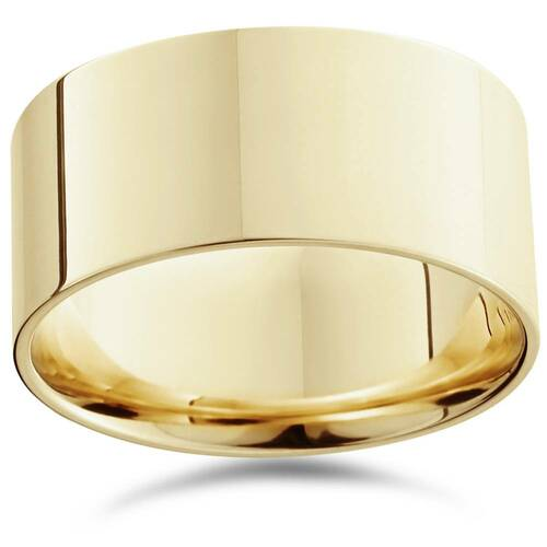 10mm Flat High Polished Wedding Band 14K Yellow Gold