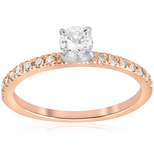1/2ct Diamond Engagement Ring 14K Rose Gold (G/H, I1)