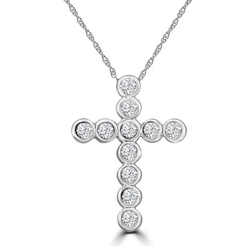 3/4ct Diamond Bezel Cross Pendant 14K White Gold (G/H, I1)