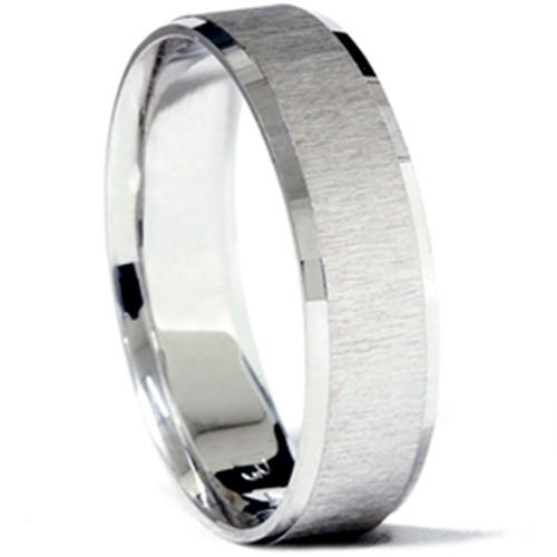 Mens 14K 6mm Comfort Fit Matte Wedding Band Ring New