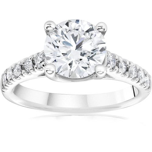 1 3/4 ct Solitaire Diamond (1 1/2ct center) Engagement Ring White Gold Enhanced (G/H, I1)
