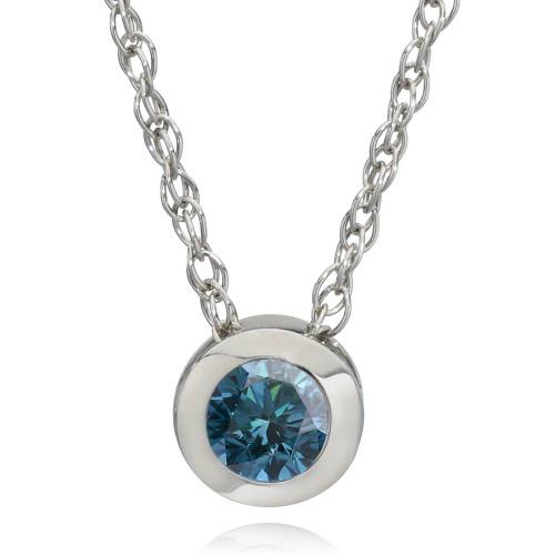1/2ct Solitaire Blue Diamond Pendant 14K White Gold (Blue, I1)