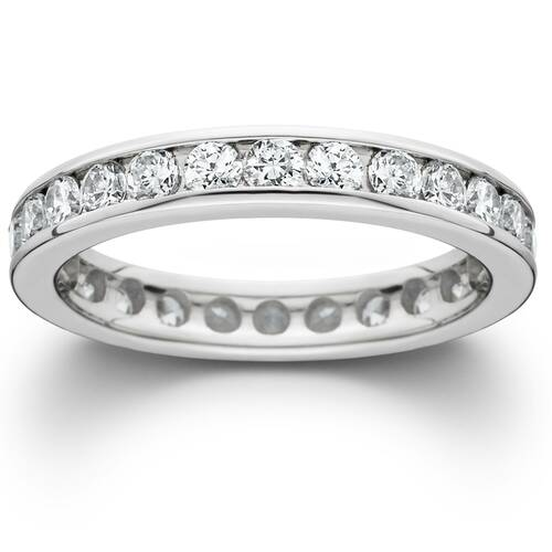 1 1/2ct Channel Set Diamond Eternity Ring 14K White Gold (G/H, SI)