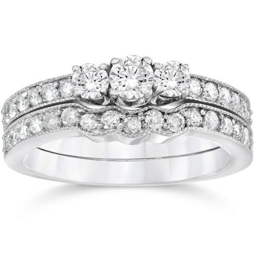 3/4ct Three Stone Vintage Diamond Engagement Wedding Ring Set 10K White Gold (G-H, I1-I2)