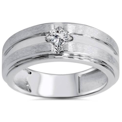 3/8ct Mens Princess Cut Diamond Wedding Ring 14K White Gold (G/H, SI2-I1)