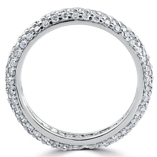 1 1/10ct Pave Diamond Eternity Ring 14K White Gold (H/I, I1)