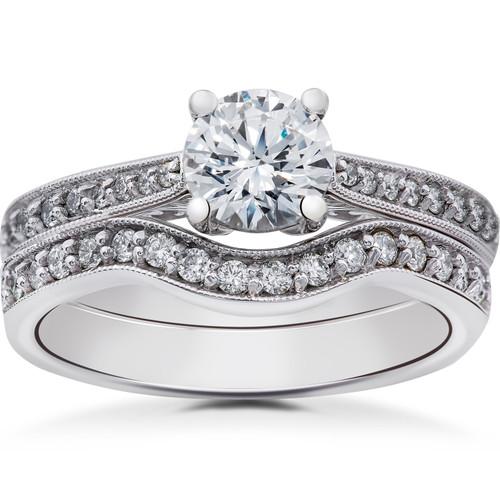 1 ct Diamond Lab Grown Eco Friendly Vintage Engagement Ring & Wedding Band 14k (F, VS)