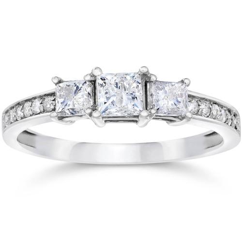 1ct Three Stone Princess Cut Diamond Engagement Ring 14K White Gold (H, SI2)