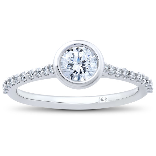 3/4ct Charlotte Lab Created Diamond Engagement Ring 14k White Gold (((G-H)), SI(1)-SI(2))