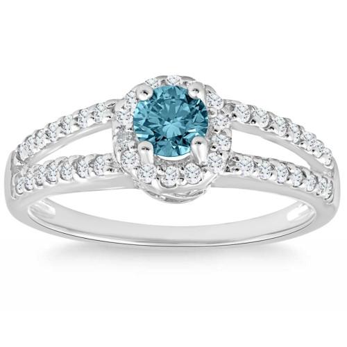 3/4ct Halo Split Shank Treated Blue Diamond Engagement Ring 14K White Gold (G/H, I2)
