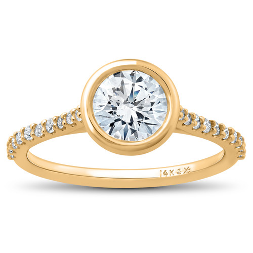1 ct Charlotte Diamond Engagement Ring 14k Yellow Gold Lab Grown Bezel Round (F/G, VS2-SI1)