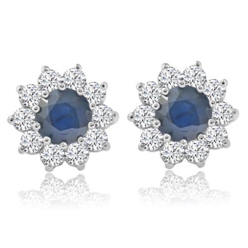 1 3/4ct Blue Sapphire & Diamond Halo Studs Earrings 14K White Gold (G, VS)