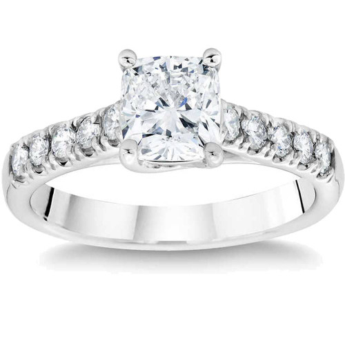 1 3/4ct Cushion Cut Diamond Engagement Ring 14k White Gold Enhanced ((D), SI(1)-SI(2))