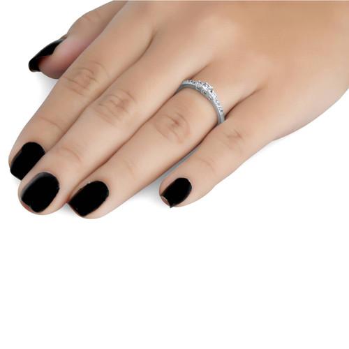 1/4ct Three Stone Round Diamond Engagement Ring 14K White Gold (H, SI2)