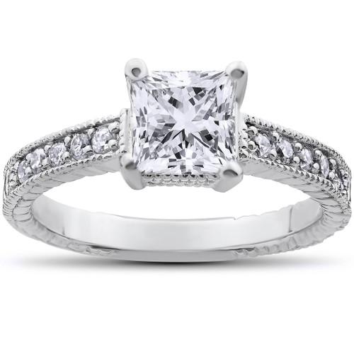 Vintage Princess Cut Real Diamond Engagement Ring 1ct Center Antique White Gold (G/H, I1)