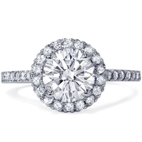 1ct Round Diamond Halo Engagement Ring 14K White Gold (G/H, SI2-I1)