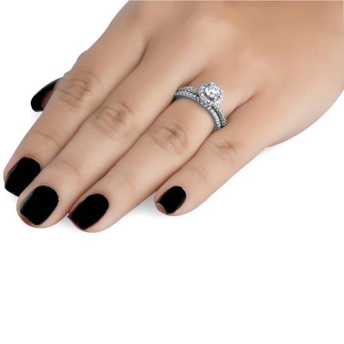 1 1/10ct Diamond Pave Halo Engagement Wedding Ring Set 14K White Gold (G/H, I1)