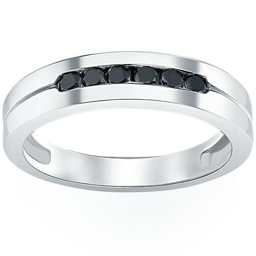 Mens 14K White Gold Black 1/4ct Diamond Wedding Ring (Black, AAA)
