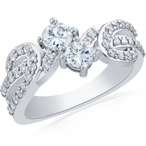 1ct 2 Stone Forever Us Diamond Ring 14kt White Gold ((G-H), SI)
