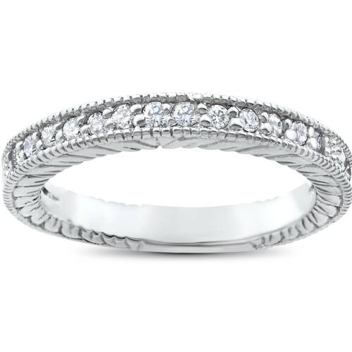 1/5ct Heirloom Diamond Vintage Wedding Ring 14K White Gold Womens band (G/H, I1)