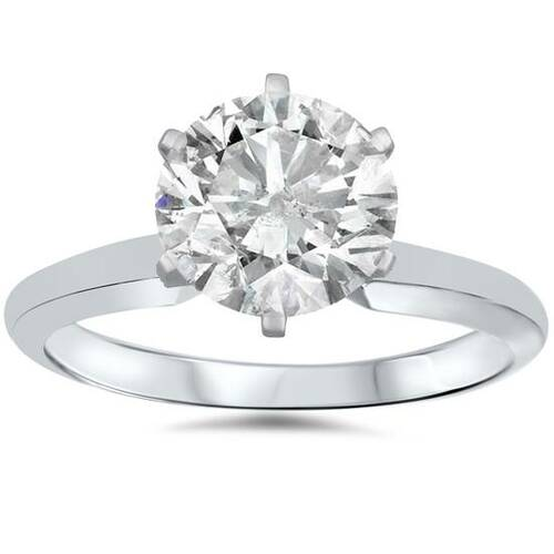 1 1/2ct Solitaire Diamond Engagement Ring 14K White Gold (F, SI2)