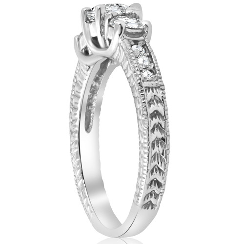 1ct Vintage Diamond Three Stone Engagement Ring 14K White Gold (G-H, I1-I2)