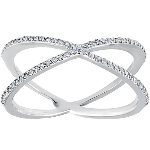 1/5CT 10K White Gold Round Diamond Crossover Cocktail Fashion Statement X Ring (I/J, I2-I3)