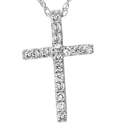 "1/10ct Diamond Cross Pendant 10K White Gold 1/2"" Tall (J/K, I2)"