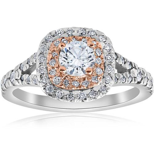 1ct Cushion Double Halo Diamond Engagement Ring 2-Tone 14k Rose Gold (H/I, I1-I2)