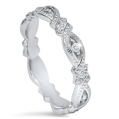 1/8ct Vintage Sculptural Lab Created Eco Friendly Diamond Eternity Ring 14K Gold (F, VS)