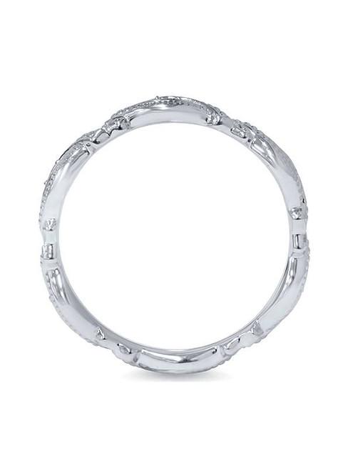 1/8ct Vintage Sculptural Lab Created Diamond Eternity Ring 14K White Gold (F, VS)